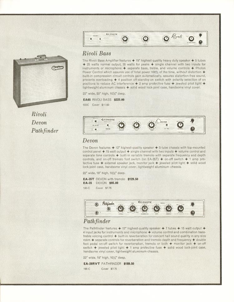 1962 Epiphone full line catalogue page 11 - Rivoli bass, Devon and Pathfinder amplifiers