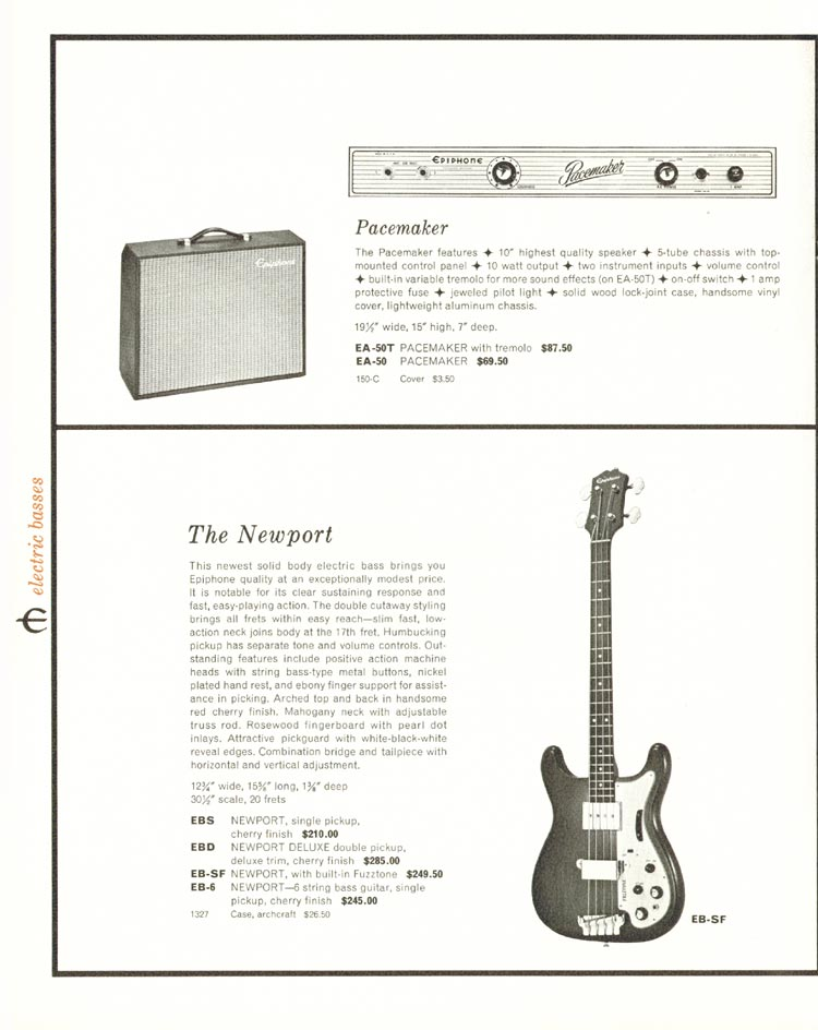 1962 Epiphone full line catalogue - Epiphone Pacemaker Amplifier, and the Epiphone Newport Bass