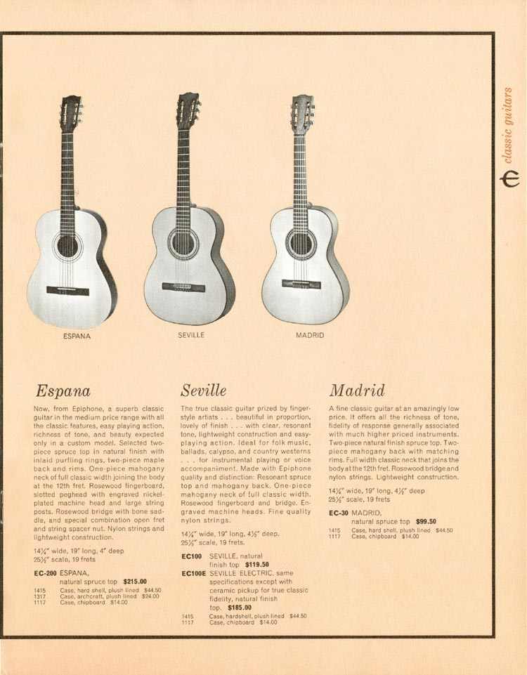 1962 Epiphone full line catalogue page 13 - Espana, Seville, and Madrid acoustic guitars