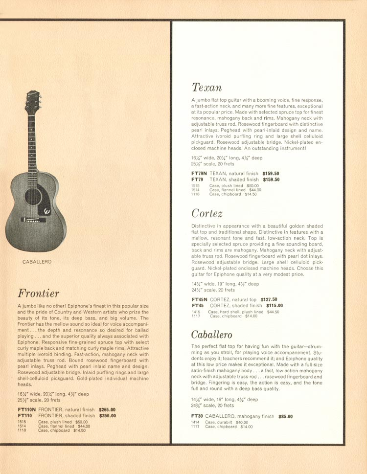 1962 Epiphone full line catalogue page 15- Epiphone Caballero acoustic guitar