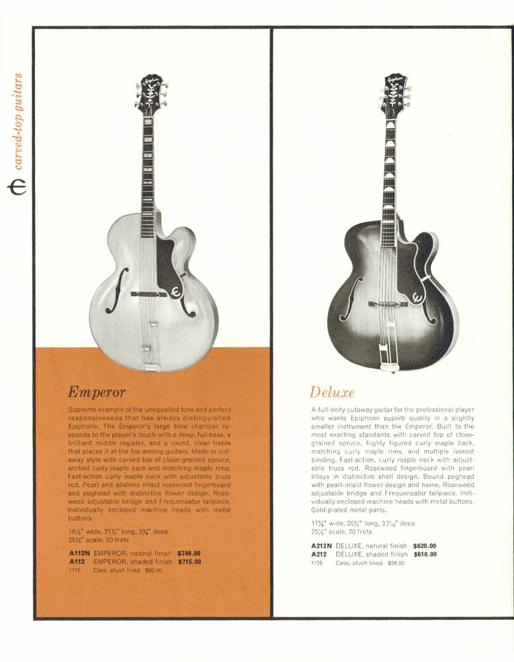 1962 Epiphone full line catalogue page 16- Epiphone Emperor and Deluxe carved top acoustic guitars