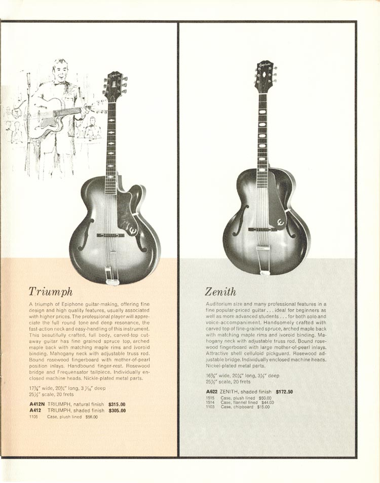 1962 Epiphone full line catalogue page 17 - Triumph and Zenith carved top acoustic guitars