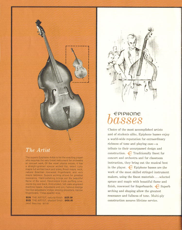 1962 Epiphone full line catalogue page 18 - Epiphone Artist upright acoustic bass