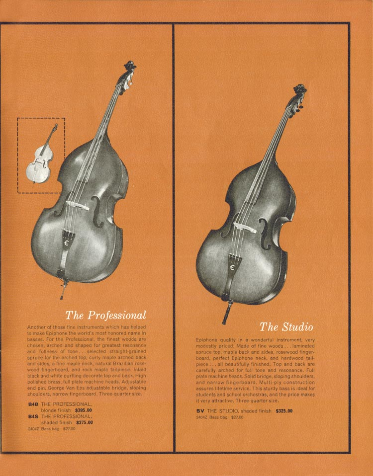 1962 Epiphone full line catalogue page 19 - Epiphone Professional and Studio upright acoustic basses