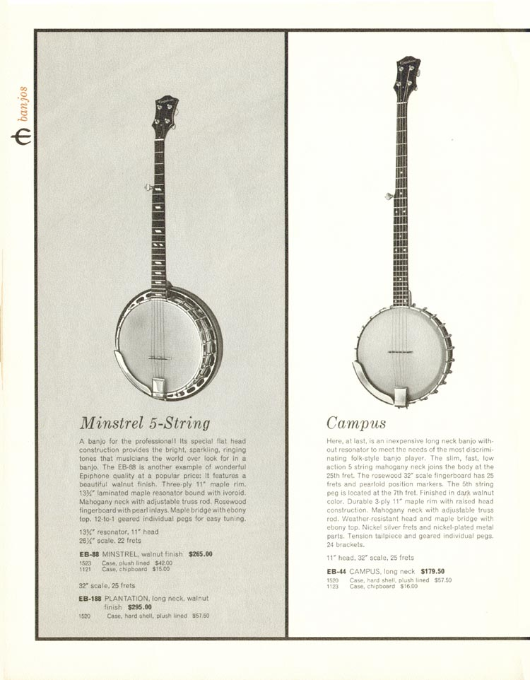 1962 Epiphone full line catalogue page 20 - Epiphone Minstrel, Plantation and Campus banjos