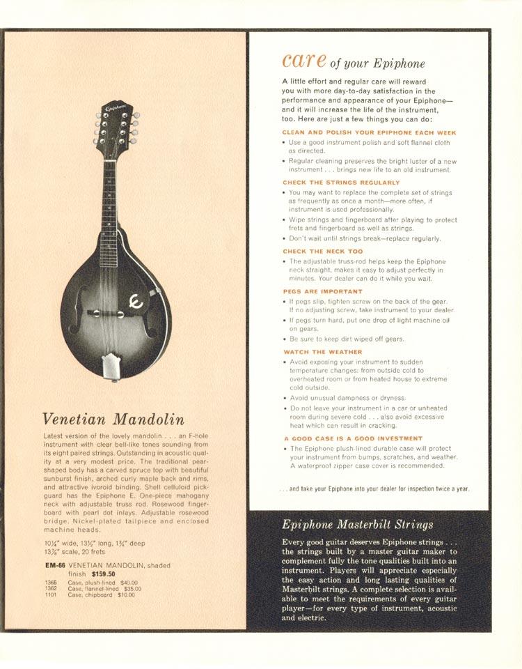 1962 Epiphone full line catalogue page 21 - Epiphone Venetian mandolin