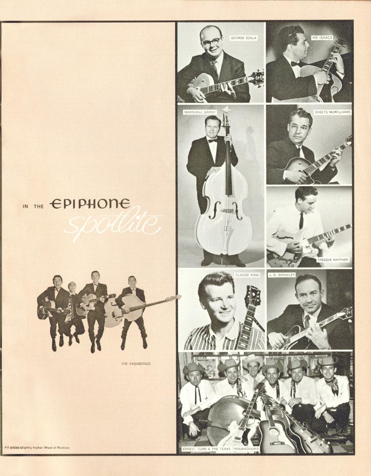 1962 Epiphone full line catalogue page 23 - Epiphone artists: George Golla, Ike Isaacs, Marshall Grant, Skeets McWilliams, Freddie Hafner, Claude King, J.B. Brinkley, Ernest Tubb and the Texas Troubadours, the Vagabonds