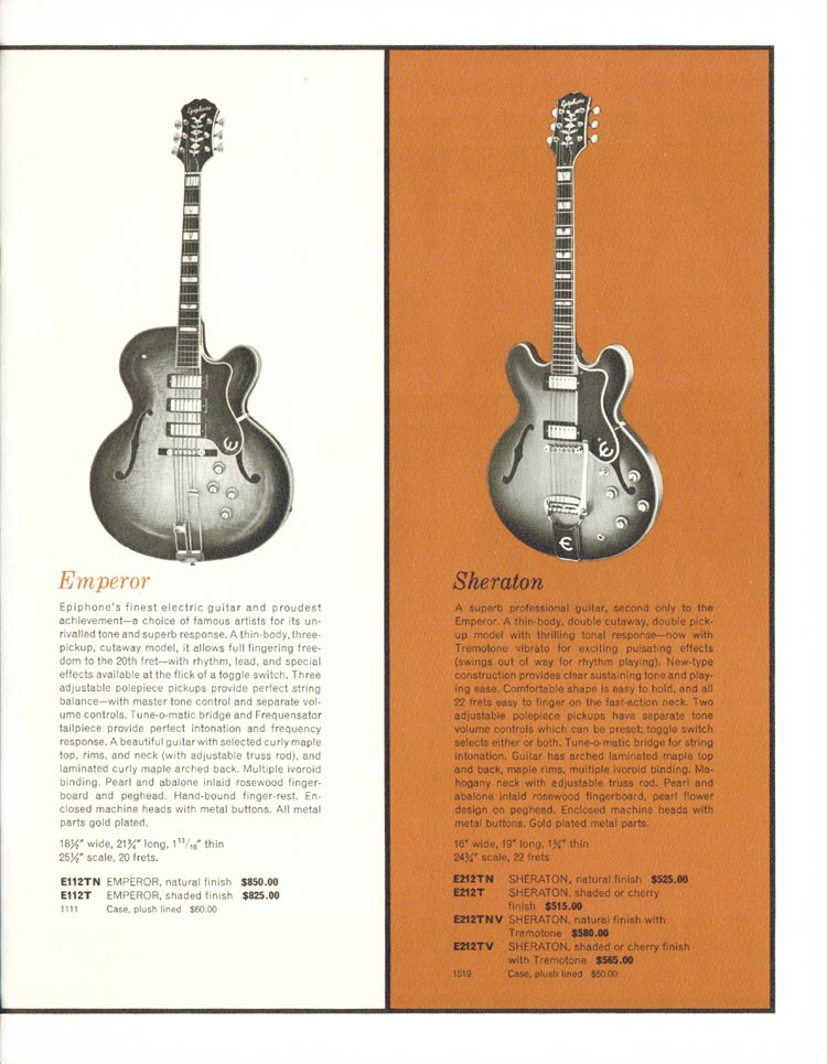 1962 Epiphone full line catalogue page 3 - Details of the Emperor and Sheraton