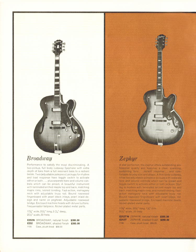 1962 Epiphone full line catalogue page 4 - Details of the Epiphone Broadway and Epiphone Zephyr