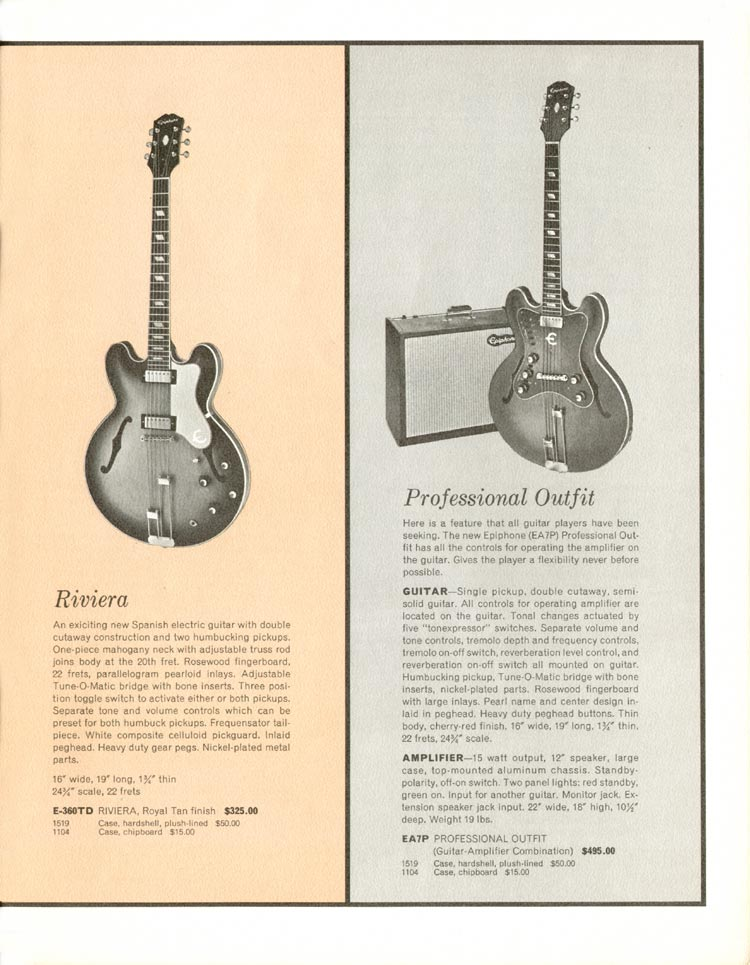 1962 Epiphone full line catalogue page 5 - Epiphone Riviera and Professional