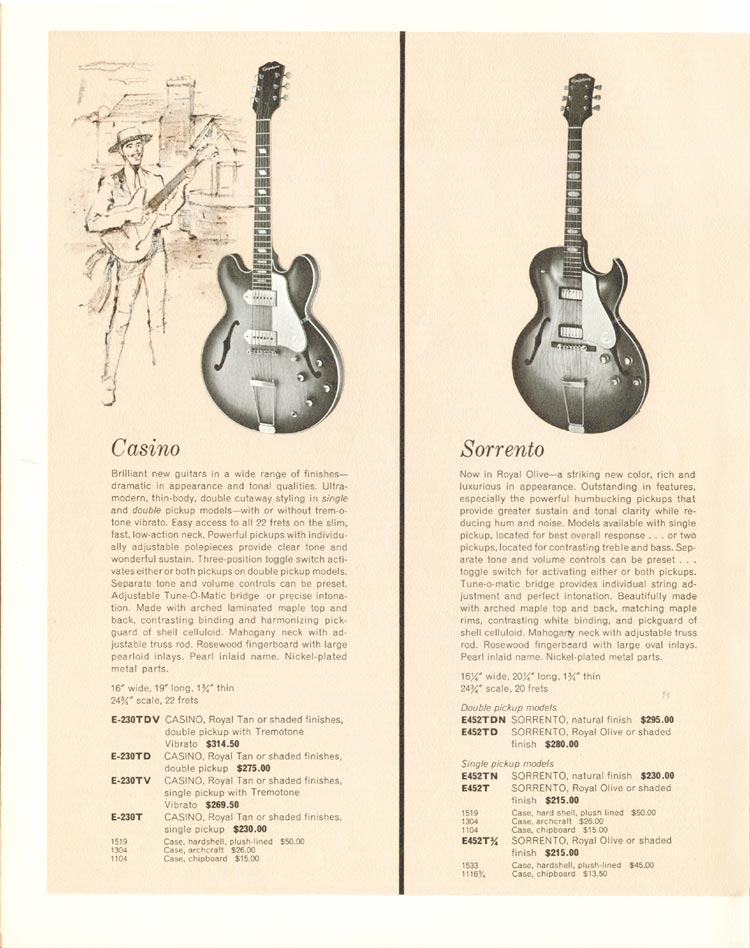 1962 Epiphone full line catalogue page 6 - Epiphone Sorrento and Epiphone Casino