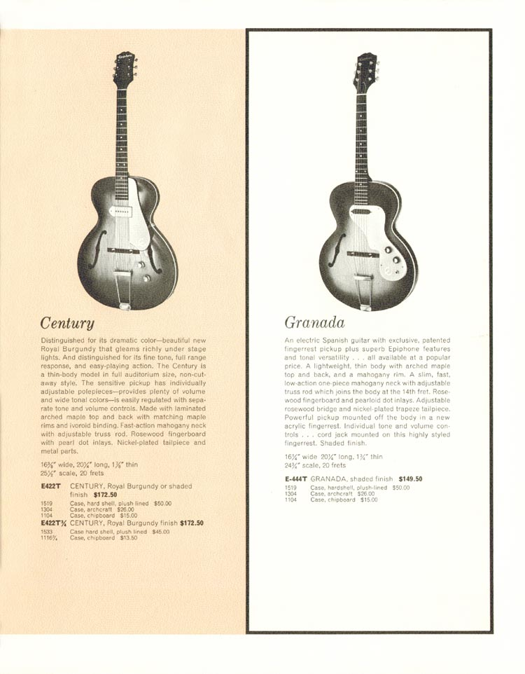 1962 Epiphone full line catalogue page 7 - Epiphone Century and Epiphone Granada