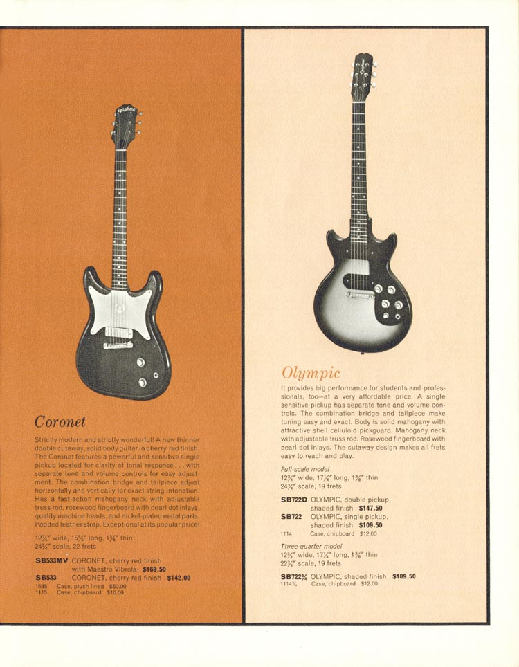1962 Epiphone full line catalogue page 9
