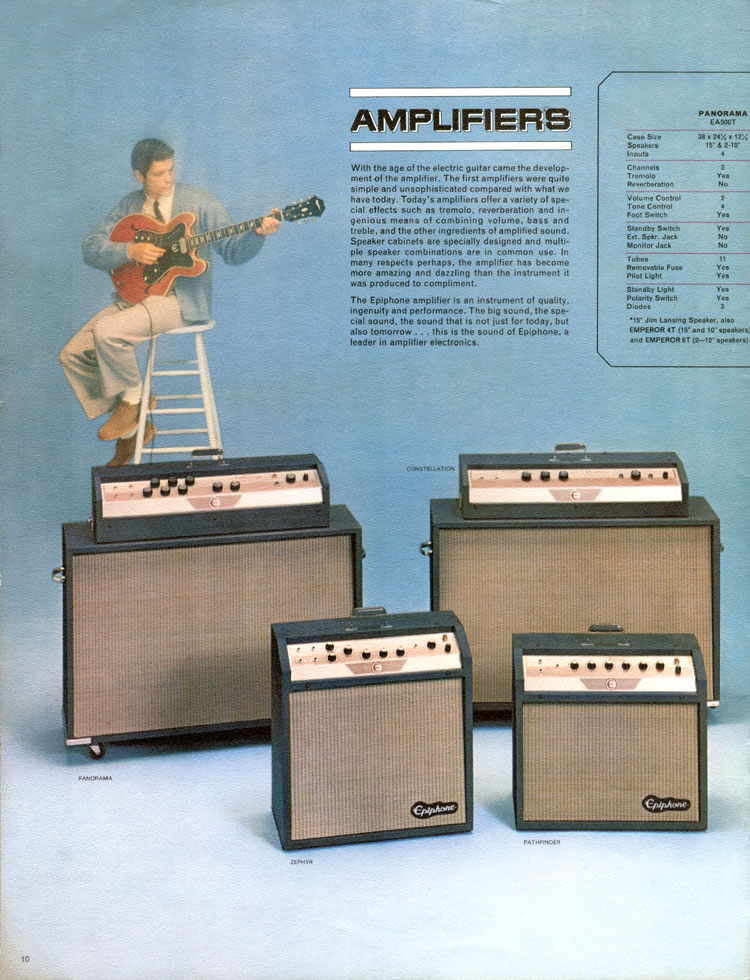1964 Epiphone full line catalogue page 10 - The Panorama, Constellation, Zephyr and Pathfinder Amplifiers