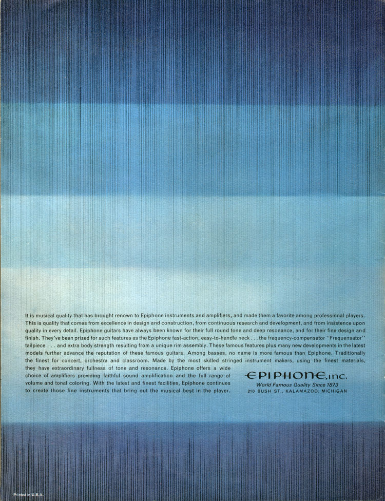 1964 Epiphone full line catalogue back cover