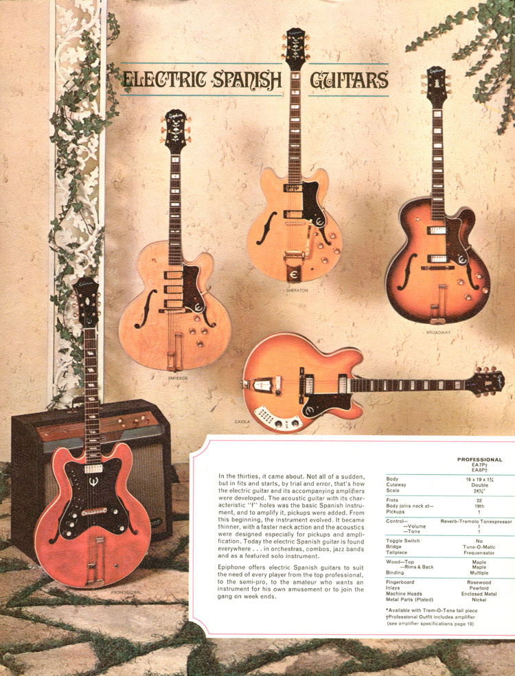 1964 Epiphone full line catalogue page 2. The Epiphone Emperor, Sheraton, Broadway, Caiola and Professional