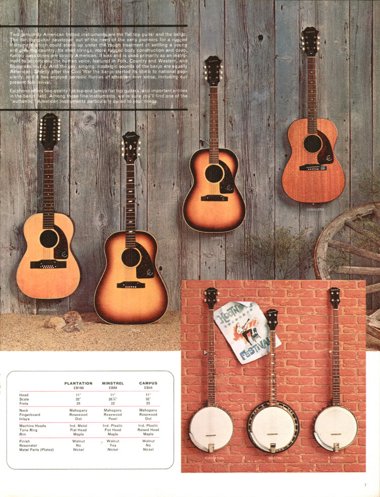 1964 Epiphone full line catalogue page 7 - Texan, Cortez, Caballero and Serenader flat tops, and the Plantation, Minstrel and Campus banjos