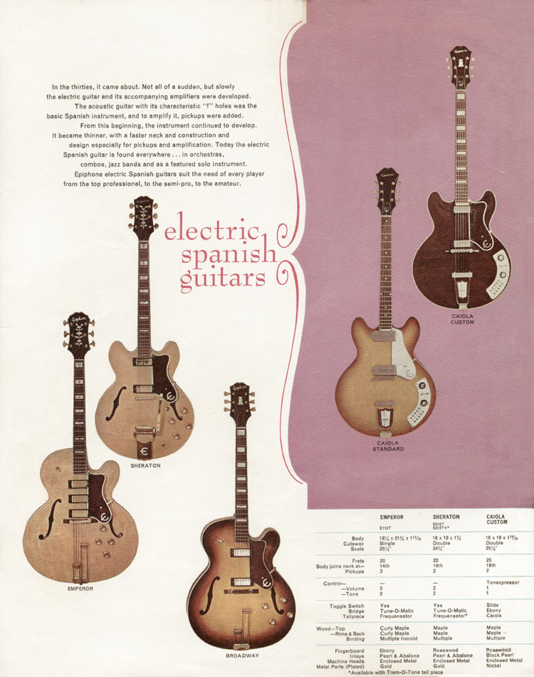 1966 Epiphone full line catalogue page 2. The Epiphone Emperor, Sheraton, Broadway, Caiola Custom and Caiola Standard