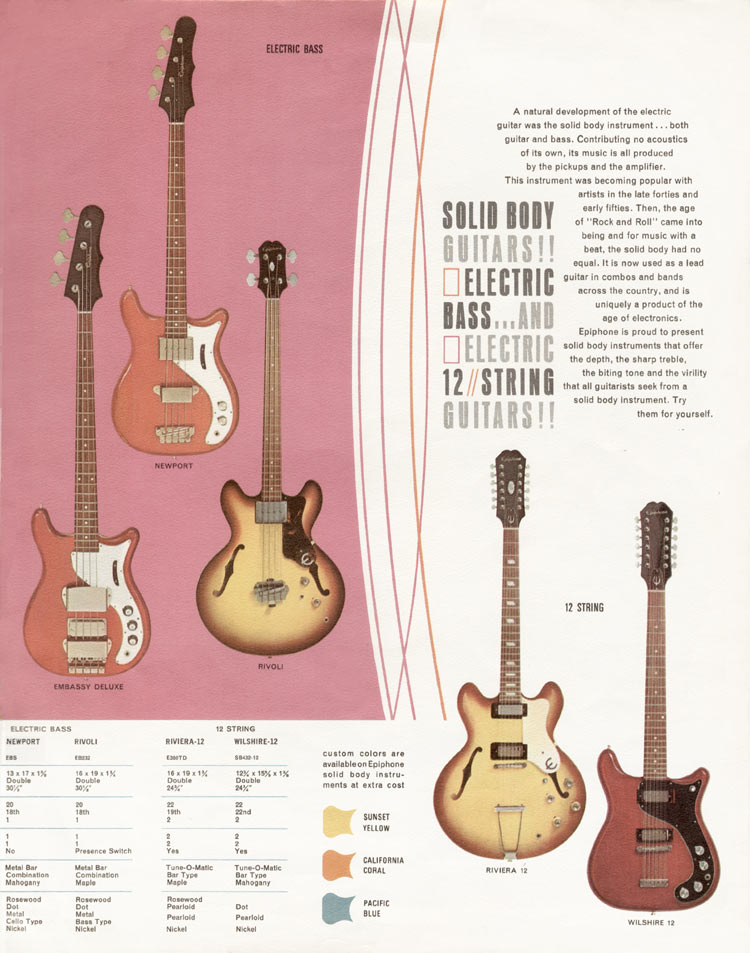 1966 Epiphone full line catalogue page 5; bass guitars and twelve-strings