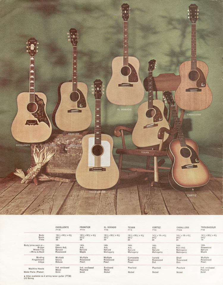 1966 Epiphone full line catalogue page 8 - Excellente, Frontier, El Dorado, Texan, Cortez, Caballero and Troubadour acoustic guitars