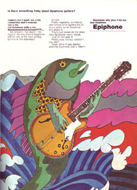 1967 Epiphone advert featuring a psychedelic fish playing an Epiphone Riviera
