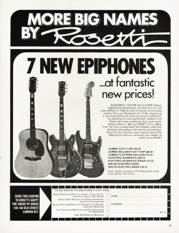 Epiphone advertisement (1970) 7 New Epiphones At Fantastic New Prices