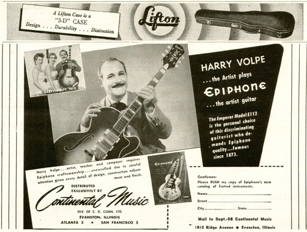 Epiphone advertisement (1953) Harry Volpe the Artist Plays Epiphone the Artist Guitar