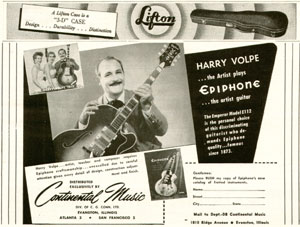 1953 Epiphone adert for the E112 Emperor, and its endorser Harry Volpe