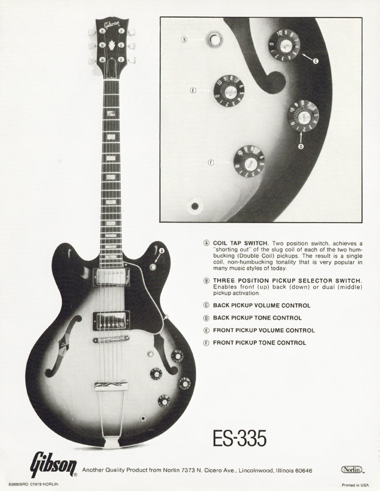 Gibson ES-335 1978 specification sheet