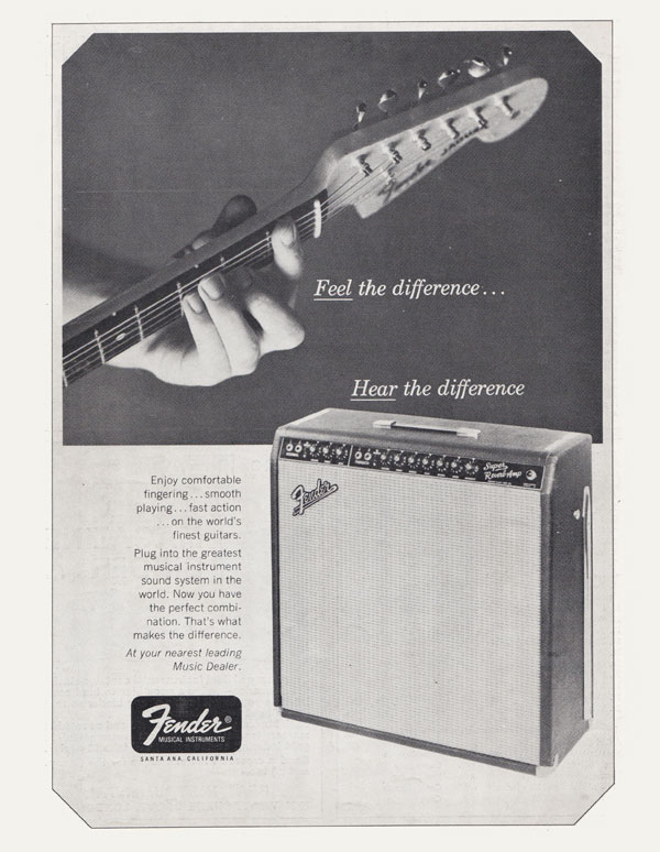 Fender advertisement (1966) Feel the Difference Hear the Difference