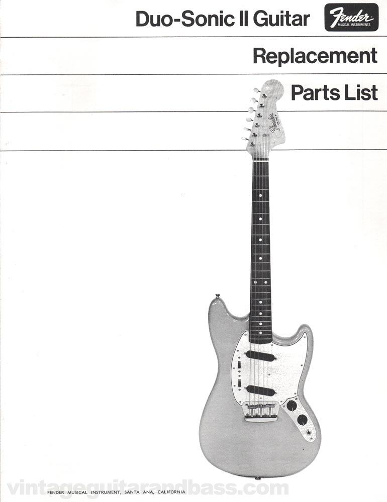 Replacement part list for the Fender Duo-Sonic electric guitar - 1968, page 1