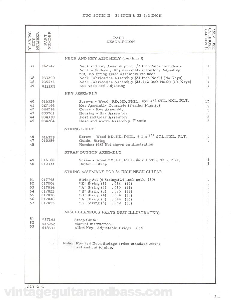 Replacement part list for the Fender Duo-Sonic electric guitar - 1968, page 3