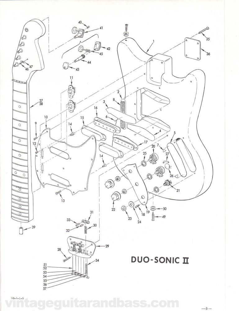 Replacement part list for the Fender Duo-Sonic electric guitar - 1968, page 4