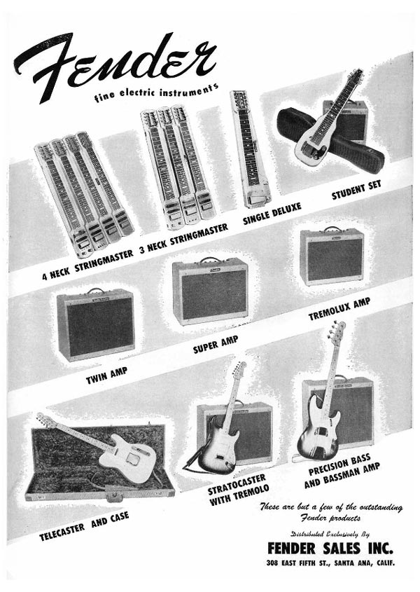 Fender advertisement (1955) Fender fine electric instruments