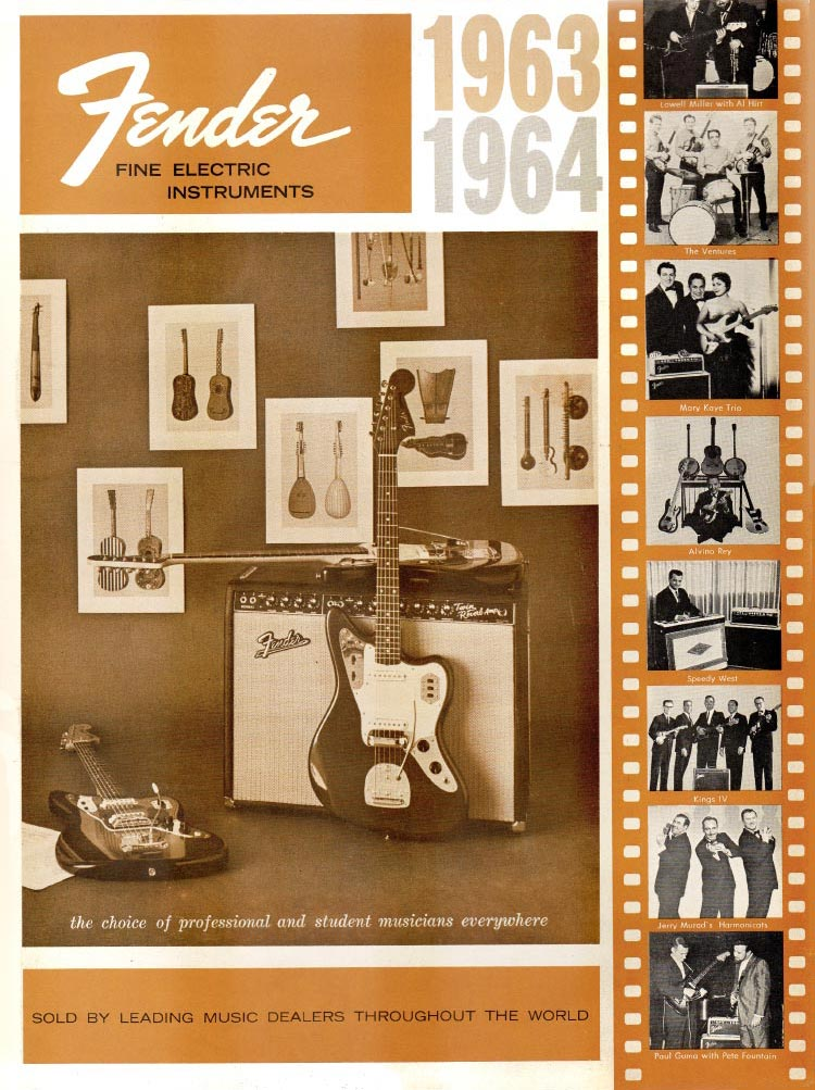 1963 1964 Fender guitar catalog front cover