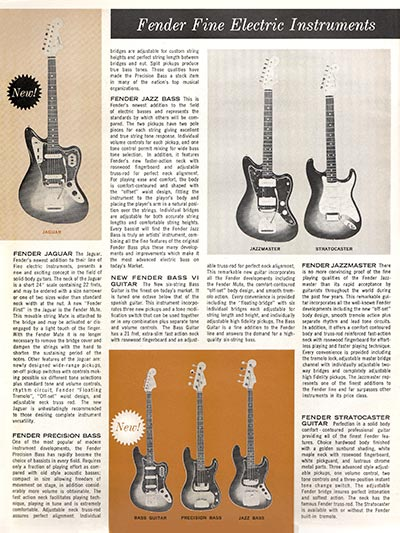 1963 1964 Fender guitar catalog page 2