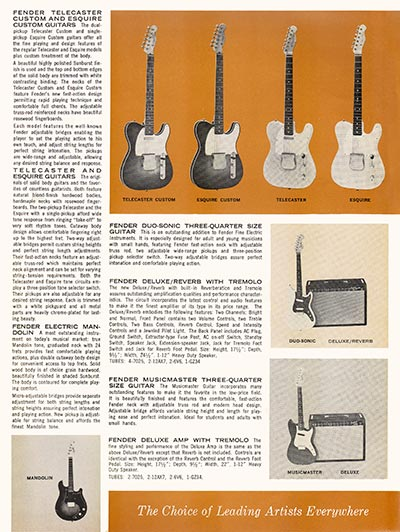 1963 1964 Fender guitar catalog page 3