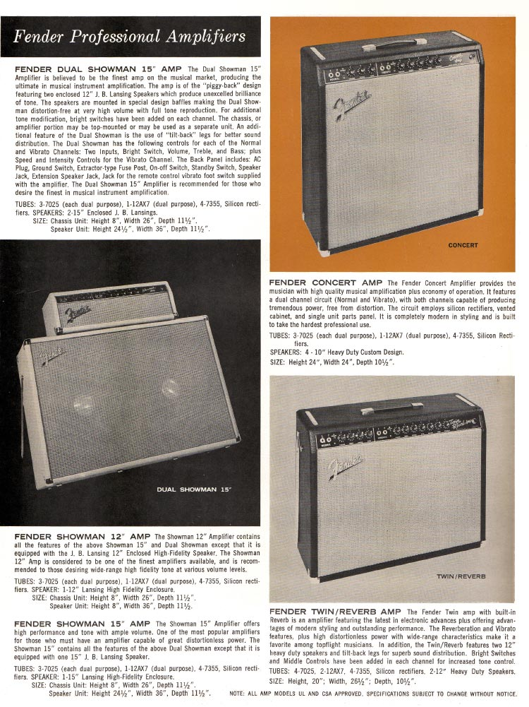 1963 1964 Fender guitar catalog page 4 - Fender Showman, Dual Showman, Twin Reverb, and Concert