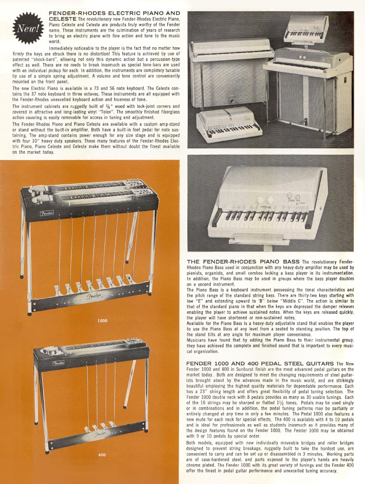 1963 1964 Fender guitar catalog page 6 - Fender Rhodes pianos, Fender 400 and 1000 pedal steel guitars