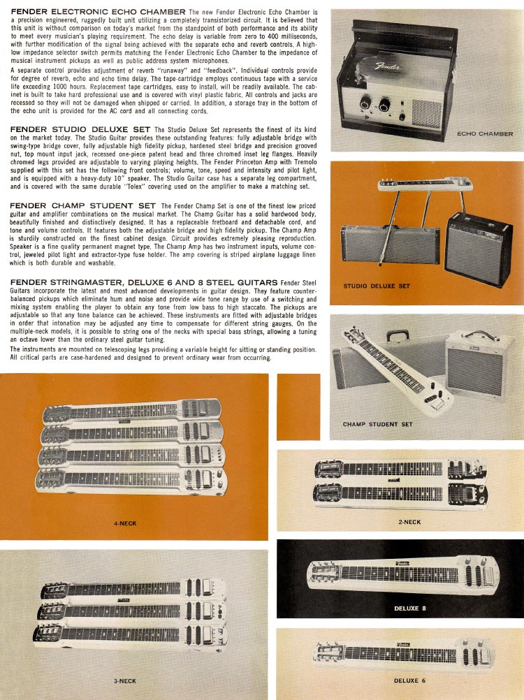 1963 1964 Fender guitar catalog page 7 - Fender steel guitars and echo chamber