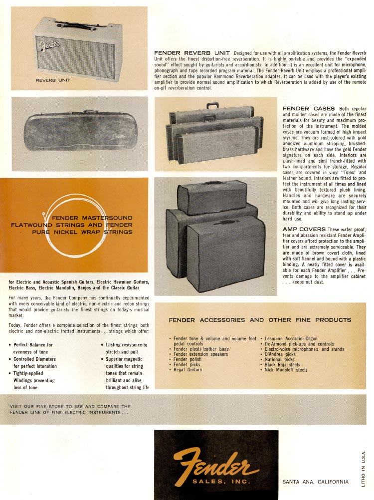 1963 1964 Fender guitar catalog page 8 - Fender cases, amp covers, strings and reverb unit