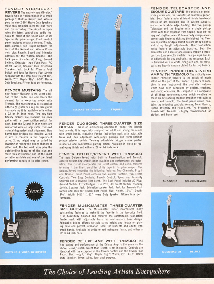 1964 1965 Fender guitar catalog page 3 - Fender Telecaster, Esquire, Mustang, Musicmaster, Duosonic, Deluxe, Deluxe Reverb, Vibrolux Reverb and Princeton Reverb