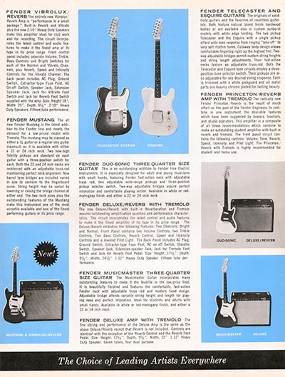 1964 1965 Fender guitar catalogue page 3