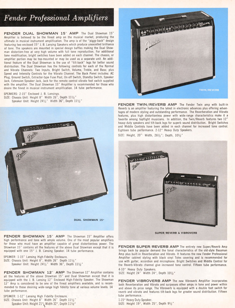 1964 1965 Fender guitar catalog page 4 - Fender Showman, Dual Showman, Twin Reverb, Super Reverb and Vibroverb