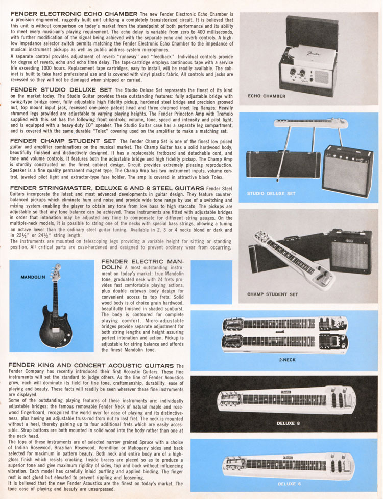 1964 1965 Fender guitar catalog page 7 - Fender steel guitars, acoustic guitars and the Fender electric mandolin