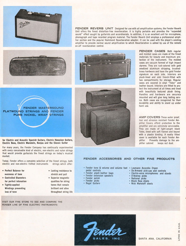 1964 1965 Fender guitar catalog page 8 - Fender cases, amp covers, strings and reverb unit