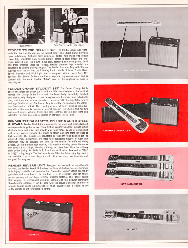 1965 1966 Fender guitar catalogue page 10 - Fender Studio Deluxe set, Champ set, Stringmaster, Deluxe 6 and 8