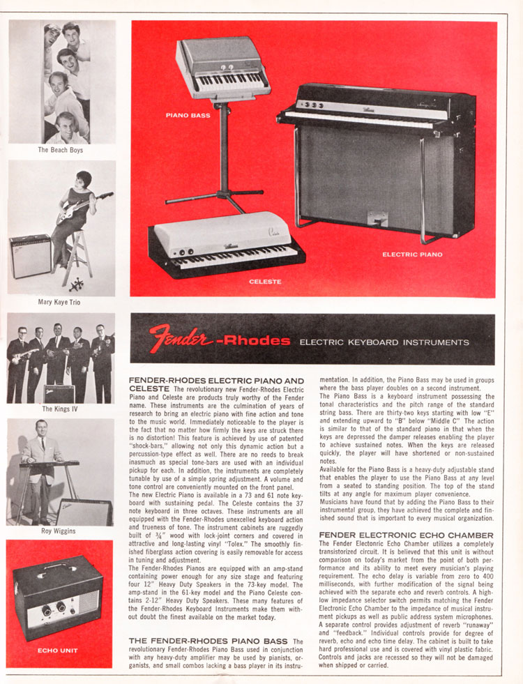 1965 1966 Fender guitar catalogue page 11 - Fender Rhodes piano and Rhodes piano bass