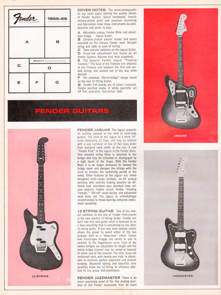 1965 1966 Fender guitar catalog page 2 - Fender Jaguar, Jazzmaster, and 12-String