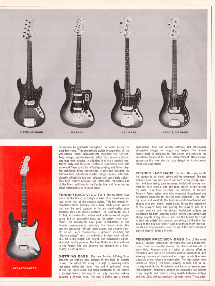 1965 1966 Fender guitar catalog page 3 - Fender Stratocaster, Precision bass, Jazz bass, 5-String bass and Bass VI